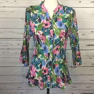 Floral Pleated Button Down Blouse, Size L